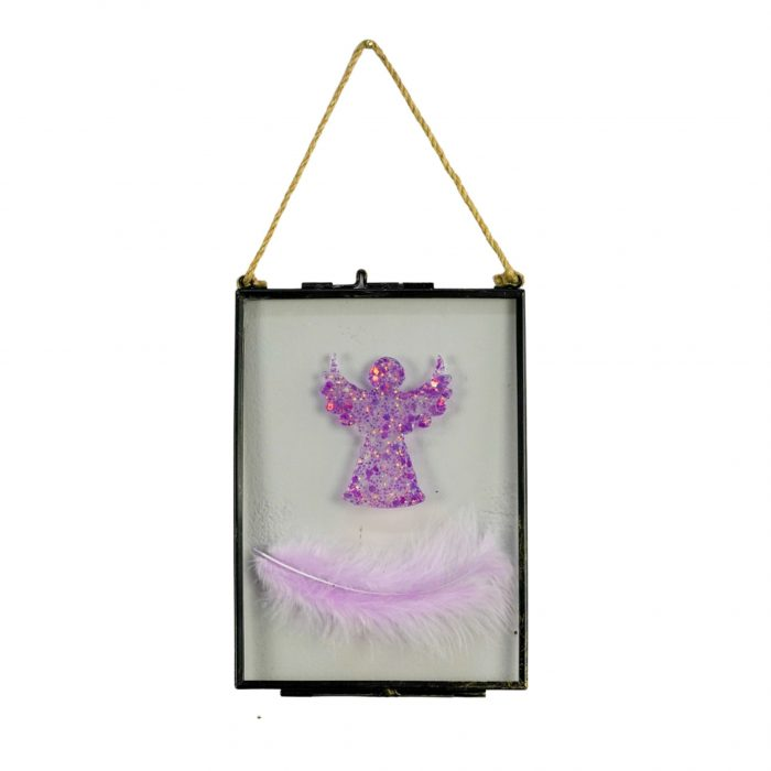 Angel & Feathers Framed Pink