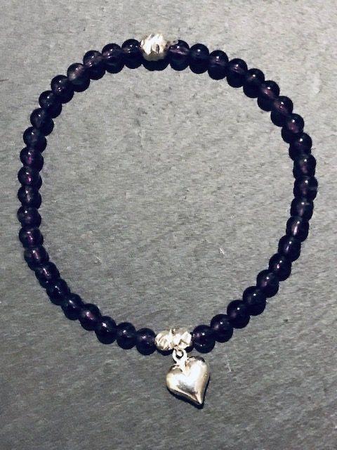 Amethyst Heart Charm Bracelet (SOLD)