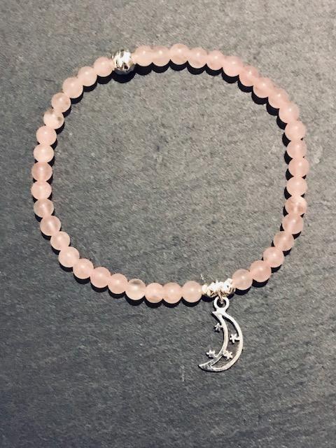 Moon & Stars Rose Quartz Charm Bracelet